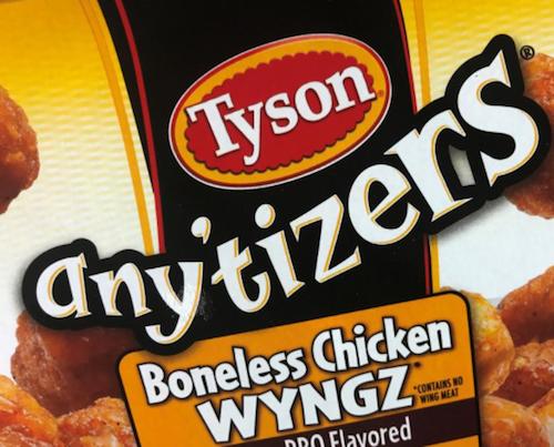 Tyson Foods any'tizers boneless chicken wyngz
