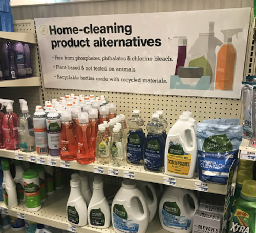 CVS purposeful choices cleaning aisle