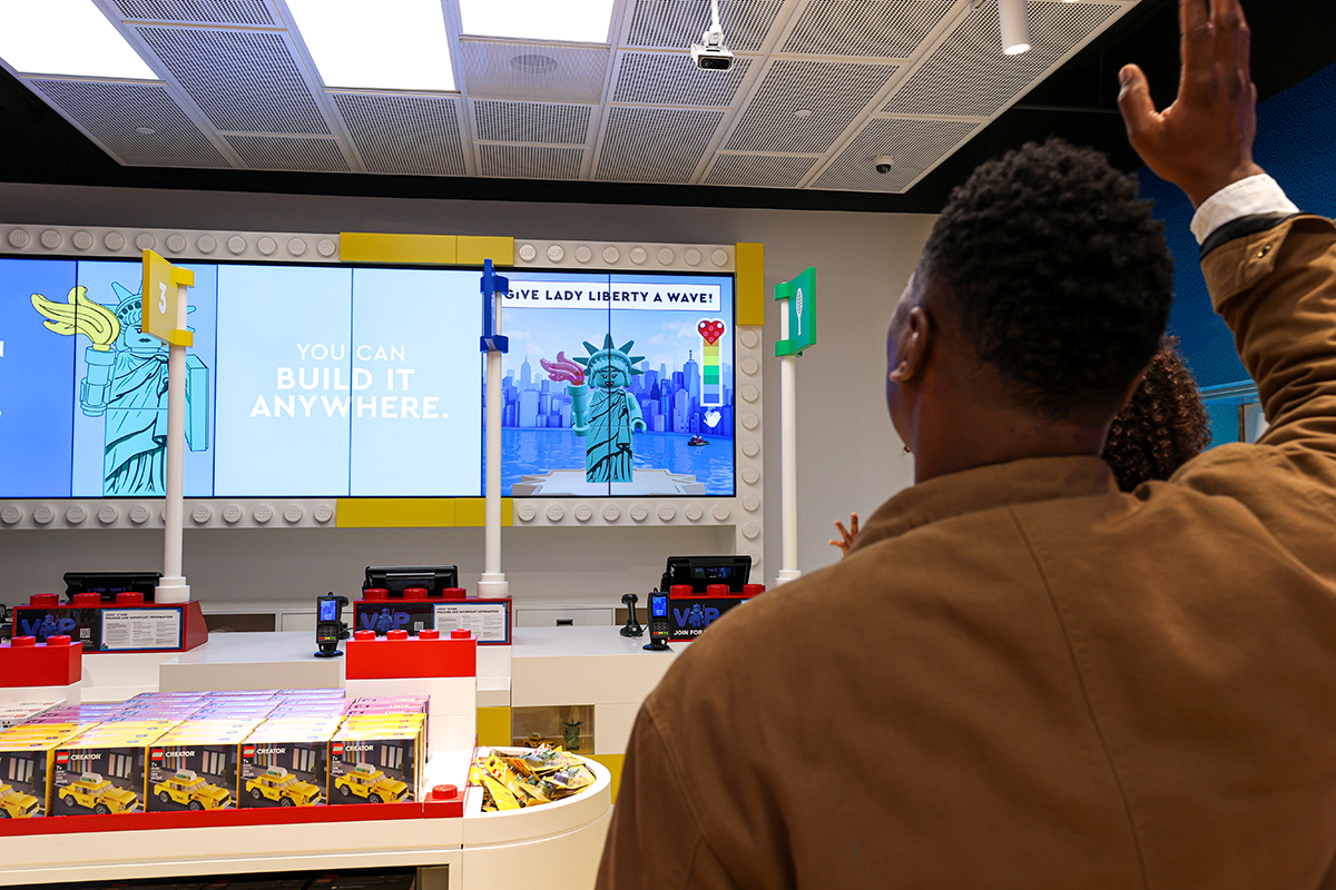 Located near the checkout, consumer can interact with the LEGO Wave to see it respond.
