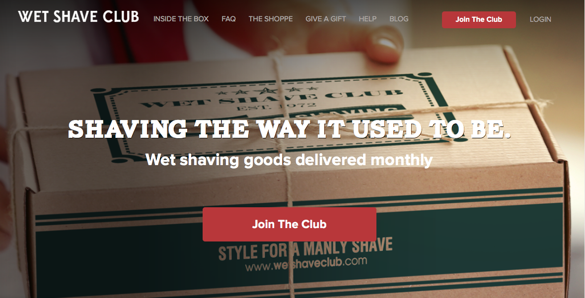 Wet Shave Club home page