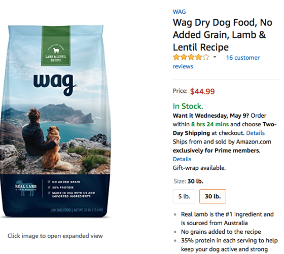 Amazon's Wag pet food