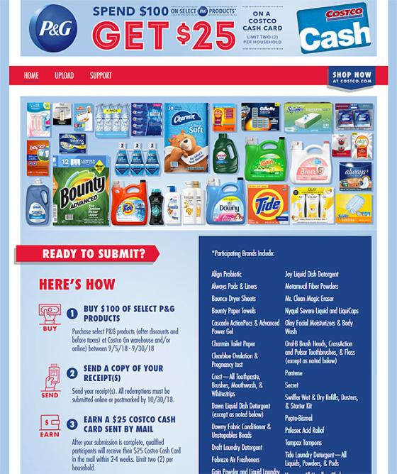 Mail In Rebate Offers >> Costco Offers Rebate On P G Purchases Path To Purchase Iq