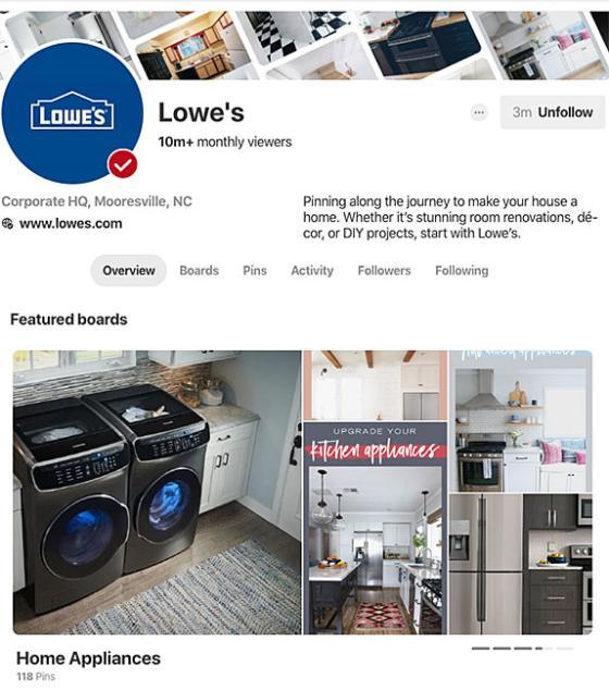 Lowe's Pinterest page