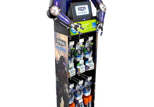 Schick Hydro Disposable Edge Floor Display With Robot Motion/Video